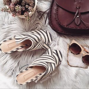 Topshop Stripe Fabric Knot Slip-on Sandals